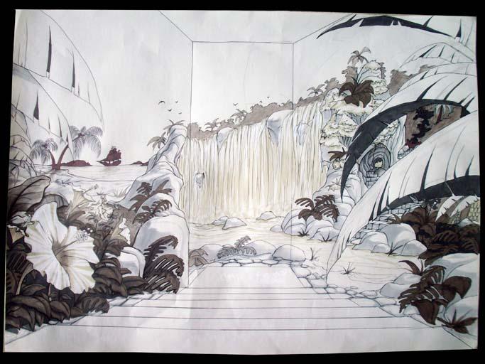 Paysage imaginaire d`une île des Carabes, dans une descente d`escalier ( première partie )